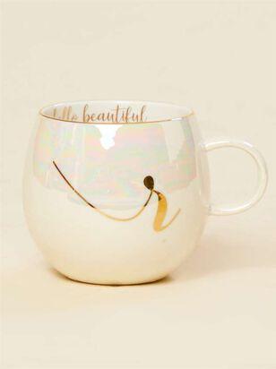 Hello Beautiful Iridescent Monogram Mug - R - A'Beautiful Soul