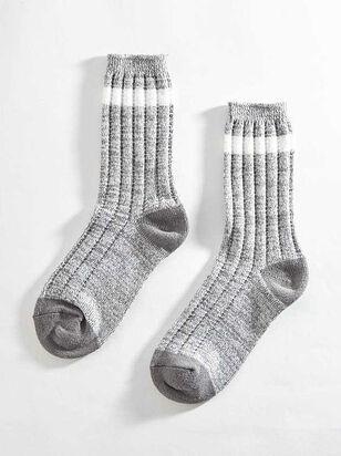 Striped Crew Sock - Grey - A'Beautiful Soul