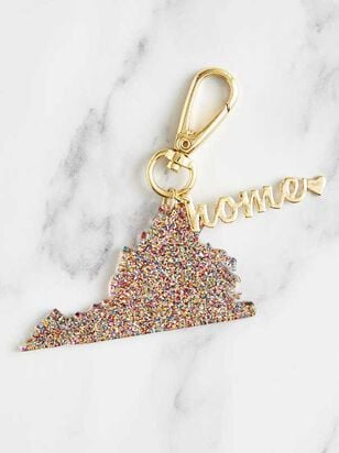 Home Glitter Keychain - Virginia - A'Beautiful Soul