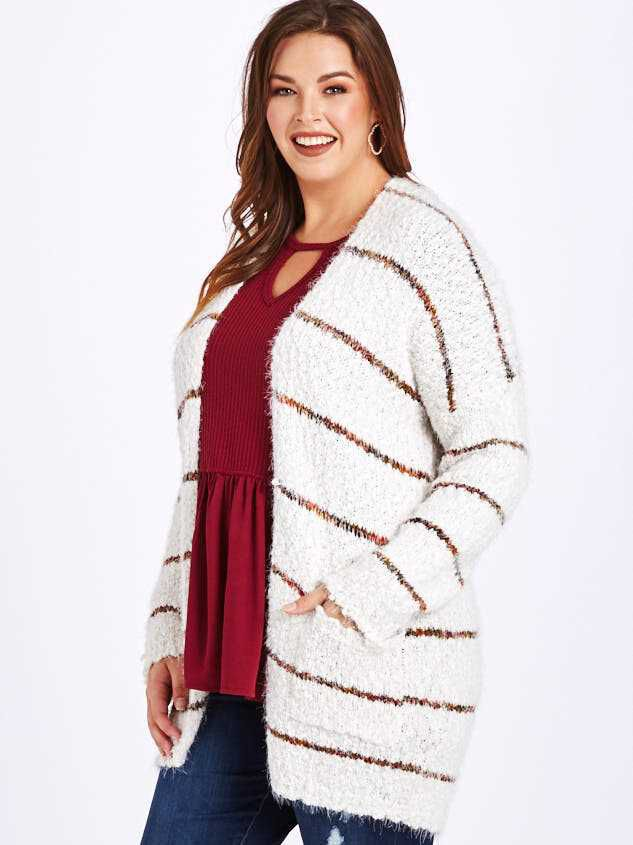 Lovely Lash Spice Striped Cardigan Sweater Detail 2 - A'Beautiful Soul