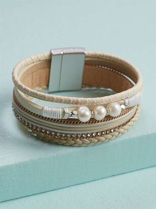 Pearls 'n Leather Bracelet - A'Beautiful Soul