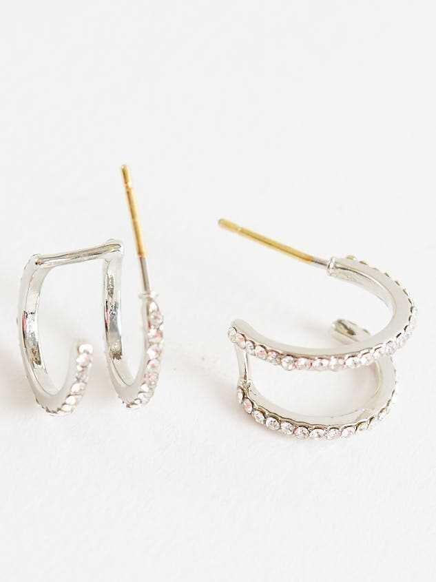 Double Hoop Earrings - Silver - A'Beautiful Soul