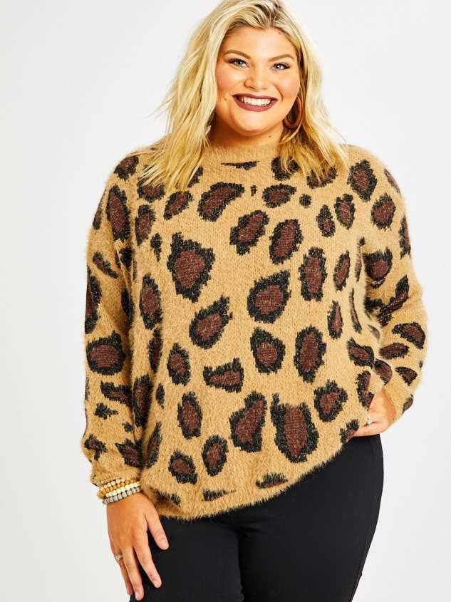 Leopard Pullover Sweater Detail 2 - A'Beautiful Soul