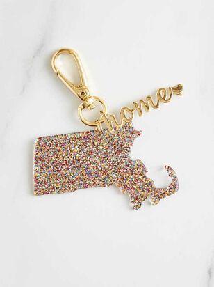 Home Glitter Keychain - Massachusetts - A'Beautiful Soul