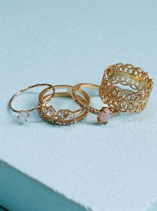 Special Occasion Stone Filagree Ring Set - A'Beautiful Soul