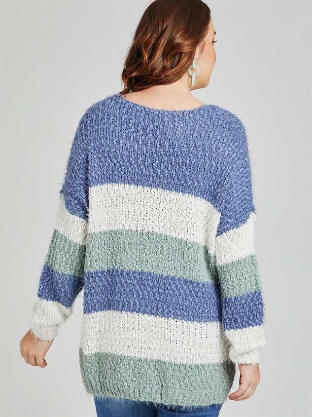 Tricolor Striped Eyelash Sweater Detail 4 - A'Beautiful Soul