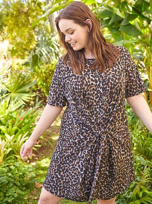 Leopard Tie Dress - A'Beautiful Soul