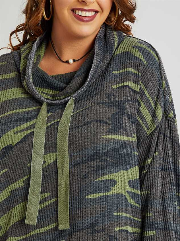 Dreamin' in Thermal Camo Cowl Neck Top Detail 5 - A'Beautiful Soul
