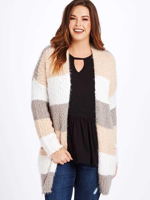 Lovely Lash Color Block Cardigan Sweater - A'Beautiful Soul