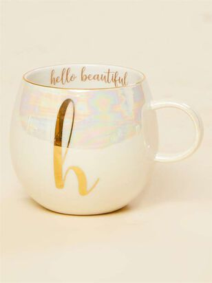 Hello Beautiful Iridescent Monogram Mug - H - A'Beautiful Soul