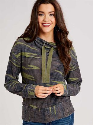 Dreamin' in Thermal Camo Cowl Neck Top - A'Beautiful Soul