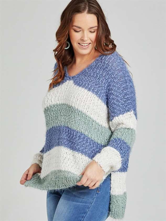 Tricolor Striped Eyelash Sweater Detail 3 - A'Beautiful Soul