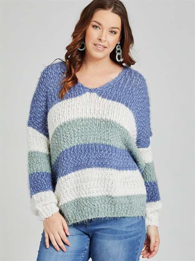 Tricolor Striped Eyelash Sweater Detail 2 - A'Beautiful Soul
