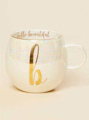 Hello Beautiful Iridescent Monogram Mug - B - A'Beautiful Soul