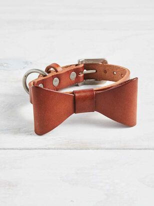 Bear & Ollie's Leather Bow Dog Collar - Small - A'Beautiful Soul