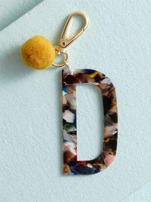 Acetate Pom Monogram Keychain - D - A'Beautiful Soul