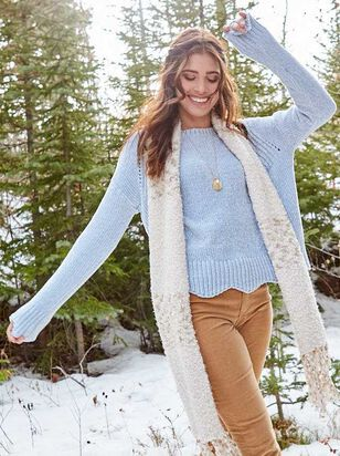 Eversoft Chenille Scalloped Sweater