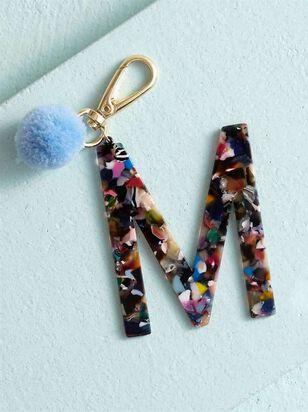 Acetate Pom Monogram Keychain - M - A'Beautiful Soul