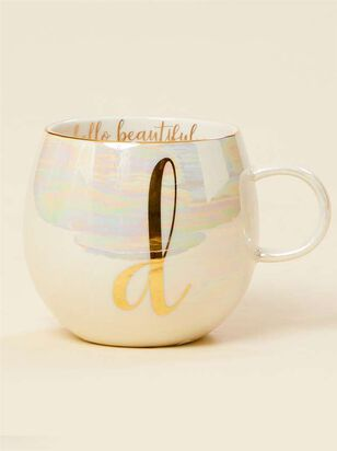 Hello Beautiful Iridescent Monogram Mug - D - A'Beautiful Soul