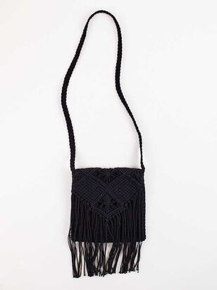 Falling For Fringe Macrame Purse - Black - A'Beautiful Soul