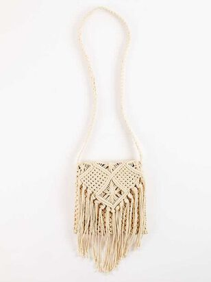 Falling For Fringe Macrame Purse - Natural - A'Beautiful Soul