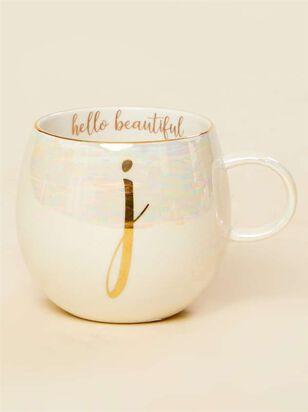 Hello Beautiful Iridescent Monogram Mug - J - A'Beautiful Soul