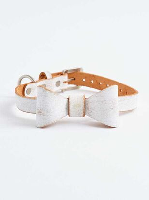 Bear & Ollie's Brushed Leather Bow Collar - A'Beautiful Soul