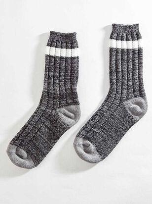 Striped Crew Sock - Charcoal - A'Beautiful Soul