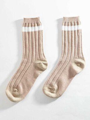 Striped Crew Sock - Blush - A'Beautiful Soul