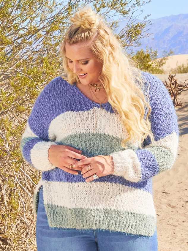 Tricolor Striped Eyelash Sweater - A'Beautiful Soul