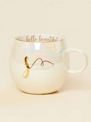 Hello Beautiful Iridescent Monogram Mug - S - A'Beautiful Soul