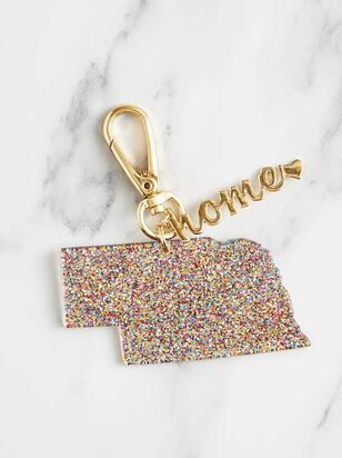 Home Glitter Keychain - Nebraska - A'Beautiful Soul