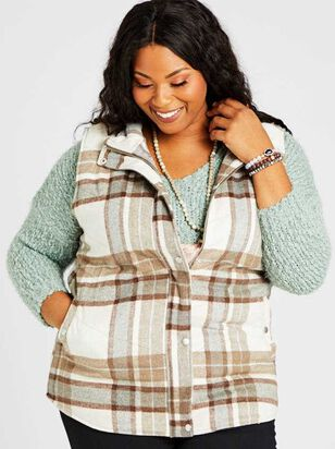 Alpine Plaid Puffer Vest - A'Beautiful Soul