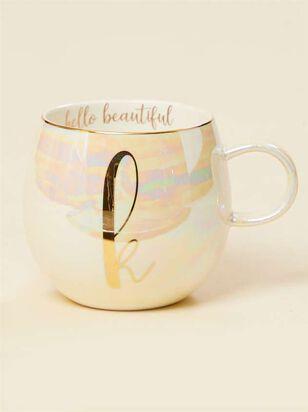 Hello Beautiful Iridescent Monogram Mug - K - A'Beautiful Soul