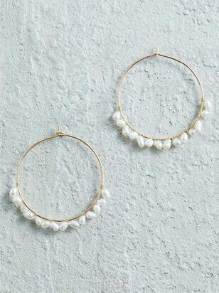 Pearl Wrapped Hoop Earrings - A'Beautiful Soul