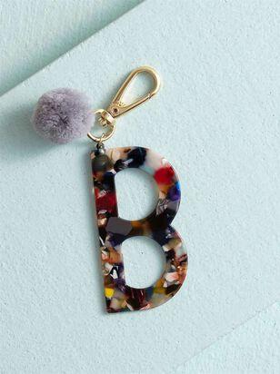 Acetate Pom Monogram Keychain - B - A'Beautiful Soul