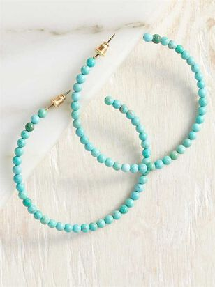 Natural Stone Hoop Earrings - Turquoise - A'Beautiful Soul