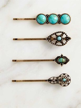 Turquoise Bobby Pin Set - A'Beautiful Soul