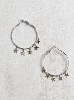 Star Charm Hoop Earrings - Silver - A'Beautiful Soul