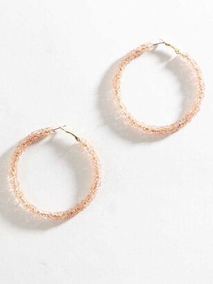 Rock Paper Wrapped Hoop Earrings - Light Pink - A'Beautiful Soul