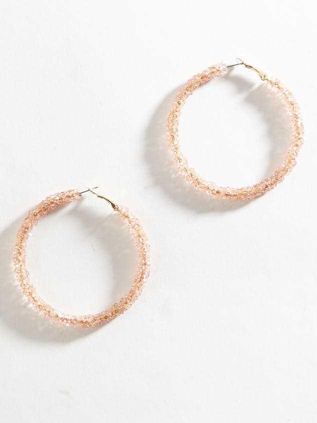 Rock Paper Wrapped Hoop Earrings - Light Pink - A'Beautiful Soul
