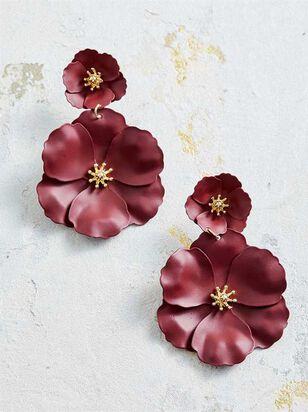 Flower Power Earrings - Burgundy - A'Beautiful Soul