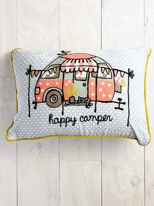 Happy Camper Embroidered Pillow - A'Beautiful Soul