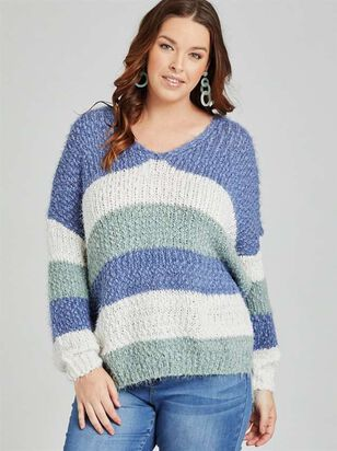 Lovely Lash Tricolor Striped Sweater - A'Beautiful Soul