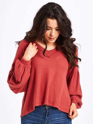 Dreamin' in Thermal Brushed Balloon Sleeve Top - A'Beautiful Soul