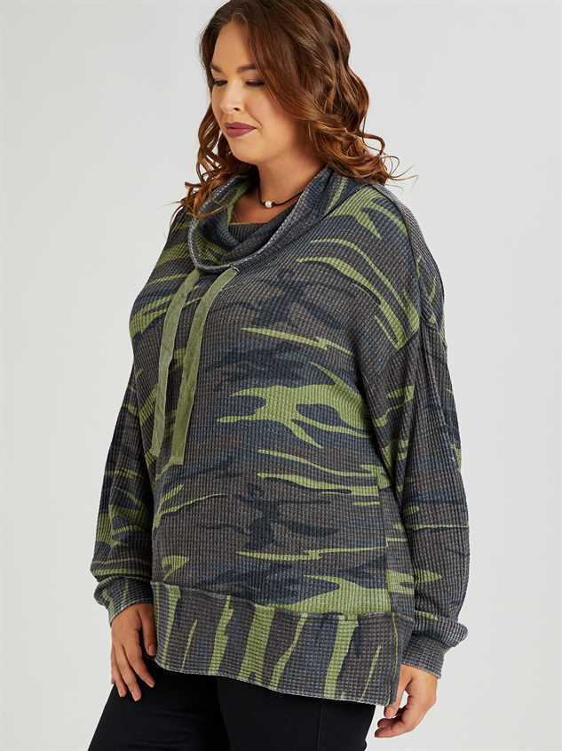 Dreamin' in Thermal Camo Cowl Neck Top Detail 3 - A'Beautiful Soul
