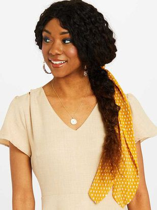 Long Versatile Scrunchy - Mustard Polka Dot - A'Beautiful Soul