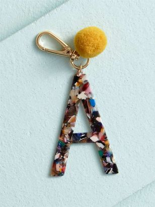 Acetate Pom Monogram Keychain - A - A'Beautiful Soul