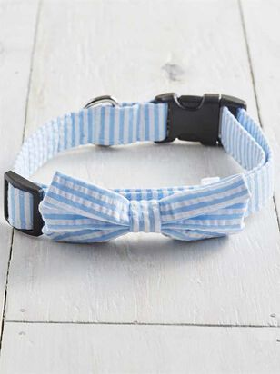 Bear & Ollie's Blue Seersucker Collar - Large - A'Beautiful Soul