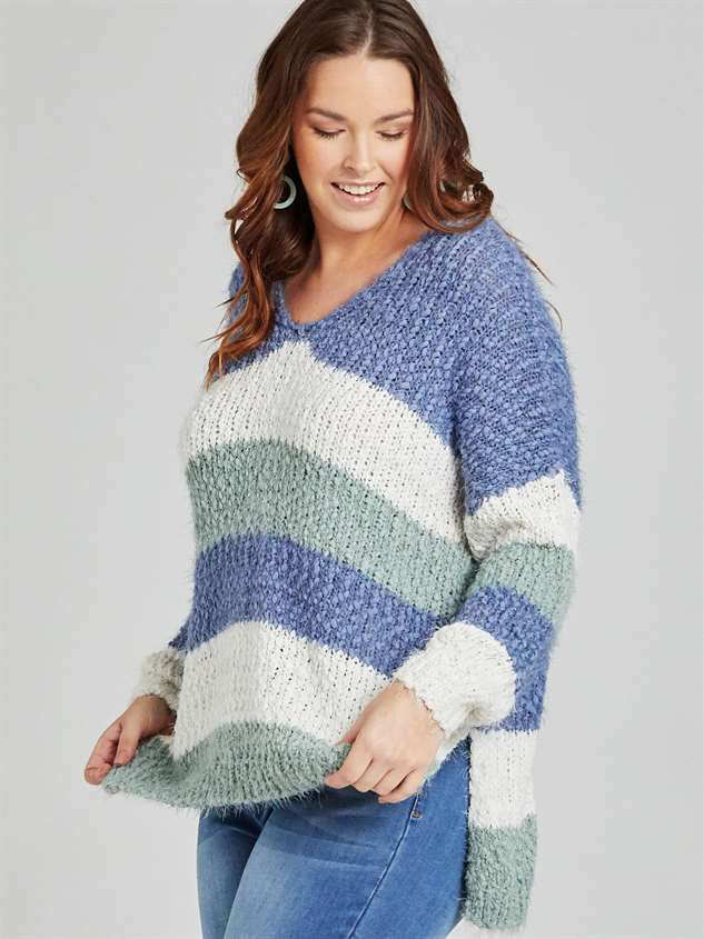 Lovely Lash Tricolor Striped Sweater Detail 2 - A'Beautiful Soul